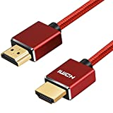 Shuliancable Hdmi Kabel 2m Rot Aluminium Shell High Speed 1080p 3D HDMI 1.4 und Audio Return-Unterstützung Ethernet, Loptop, TV, DVD, PS3 Xbox PSP PS3 PC