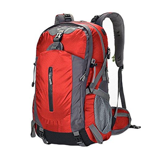 60L Extérieur Alpinisme Sac Randonnée Anti-déchirure Imperméable Grand Sac à Dos De Capacité,Red