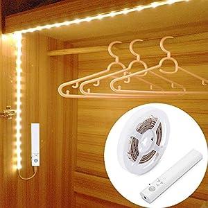 LED Schrankbeleuchtung,LUXJET® 45LED 150cm LED Streifen,BatterieBetrieben Nachtlicht,3000K Warmweiß Bewegungssensor für Kinderzimmer, Schlafzimmer, Küche, Orientierungslicht,Schrank
