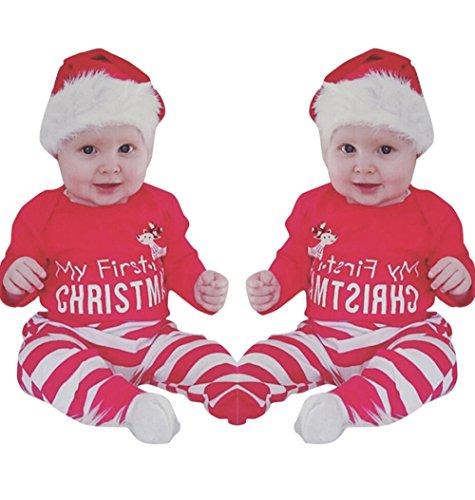 Weant weihnachten neugeborenen mädchen jungs outfits kleidung 2pcs hirsch strampler + hosen setzen (6-12 monate, rot)