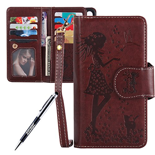 JAWSEU iPhone X Custodia in Pelle Portafoglio, Cover iPhone X, Lusso 3D Modello Goffratura Arts Lusso PU Leather Folio Case per iPhone X Custodia Cover con Gel Silicone Interno Case e Porta carte di C Donna e gatto, Marrone