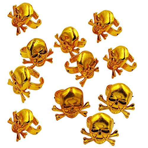 Amosfun Piraten Schädel Ringe Halloween Kinder Ringe Spielzeug Halloween Party Kids Performance Requisiten (Golden) 12 STK