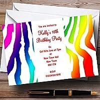 Rainbow Zebra stampa personalizzata, inviti per feste/invita & buste, 10 Invites & Envelopes