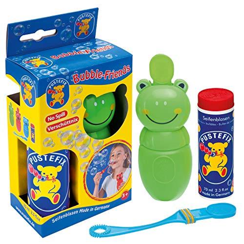 Pustefix Bubble-Friends Frosch I 70 ml Seifenblasenwasser I Bubbles Made in Germany I Seifenblasen Spielzeug für Kindergeburtstag, Polterabend, Sommerparty & als Gastgeschenk I Spaß für Kleinkinder