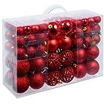 BAKAJI Confezione 100 Palline di Natale Colore Rosso Diametro 3/4/6 cm Addobbi e Decorazioni per Albero di Natale