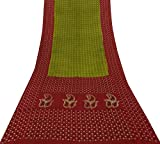 Vintage Indian Ethnic Sari reine Seide gruen Saree Bandhani