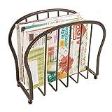 mDesign porte-revue décoratif pour journaux, livres ou tablette – porte-magazine élégant pour salon ou salle de bain – porte-journal raffiné en métal – couleur bronze