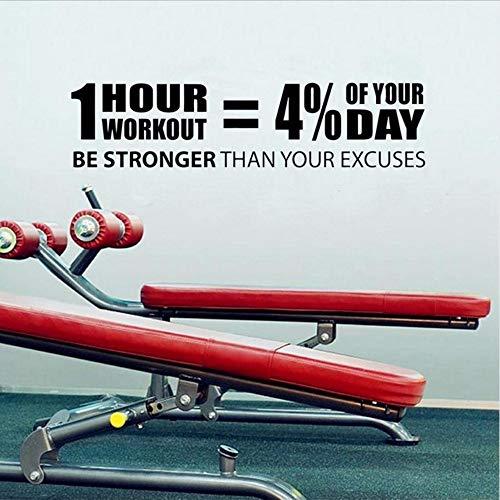 Waofe adesivi murali limitatonuova palestra vinile adesivo adesivo quotazioni di allenamento home decor fitness motivazione murale estraibile 58 * 14 cm