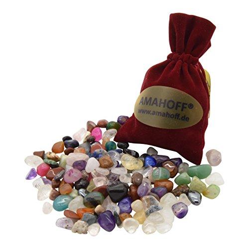 AMAHOFF Edelsteine | 100 Stück | Kalaha | Hus | BAO | Steinchenspiel | Gratis Samtsäckchen | Gratis-Spielanleitung