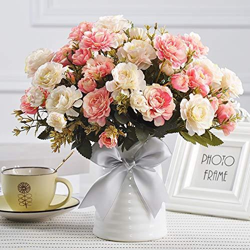 JANRON Kunstblumen,Rose Nelke Chrysantheme KamelieHaus Dekoration Blumenverzierungen Blumenarrangement Europäischer Stil Hochzeit/Party/Büro/Restaurant, 4 Bundles