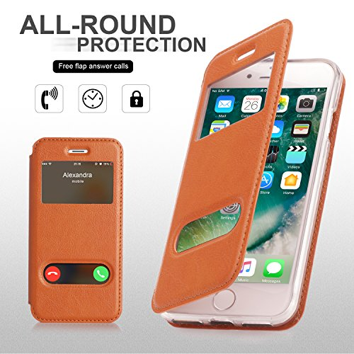 iPhone 8 Hülle , iPhone 7 Hülle, Fyy® hochwertige umweltfreundliche KunstlederHülle (Tasche Schale Schutzhülle Case Cover Etui) Apple iPhone 8/7 ,Mintgrün A-Hellbraun