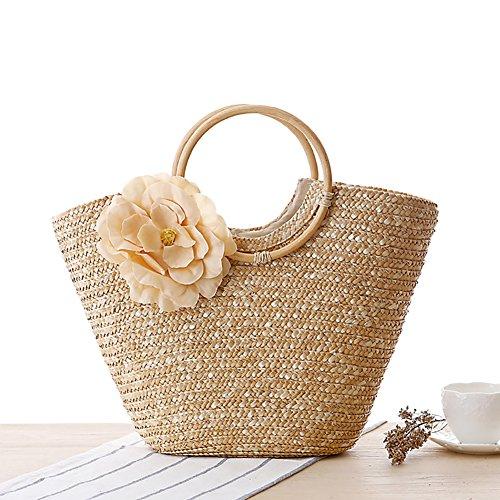 Stroh Handtasche, Handgemachte Blume Strand Korbtasche Tragetasche, Große Kapazität mit mehreren Fächern für den täglichen Gebrauch, Urlaub und Picknick -