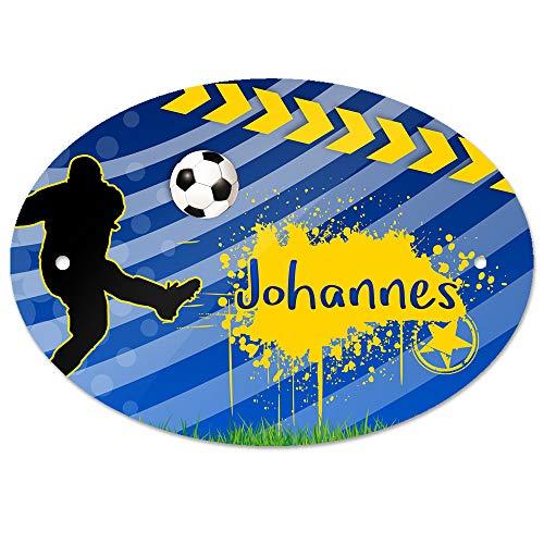Eurofoto Türschild mit Namen Johannes und Fußball-Motiv für Jungen | Kinderzimmer-Schild -