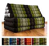Kapok Thaikissen / Dreieckskissen im extra breiten 80cm XXL - Jumbo Liegekissen Format. Großer, asiatischer Sitzsack für indoor und outdoor, Sitzkissen aus Asien (braun / grün)