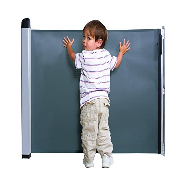 Lascal KiddyGuard Avant Baby Safety Gate Black Lascal Safety Gate discètes on easy to use one handed The curtain can extends to protect any space up to 120cm wide and 80cm height Designed to withstand an impact of 100kg 4