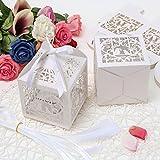PONATIA 25PCS 10 x 10 cm Taglia il contenitore di regali di formato del regalo di cerimonia nuziale del partito di carta della perla di carta della perla per i bign¨¦ bianco (gli uccelli di amore)