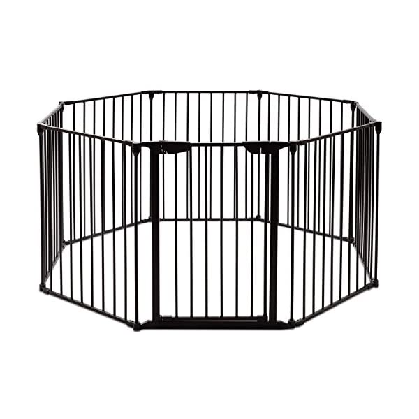 COSTWAY 6&8 Panel Baby Playpen Metal Foldable Design Multiple Use for Pet Fence, Room Divider, Yard Barrie, Fire Guard (8 Panels, Black) Costway 【Two installation modes】Our item have new 2 installation modes that it can be fully spliced as a circle or 2 sides unfurled to mounting on the wall. It can change flexibly according to your needs. It has the advantages of little space occupation, one object with multifunction, simple structure, and light weight. 【Safety door panel design】We have upgraded our door panel entirely to makes it safer. Different from the traditional straight opening door panel, our door panel has a special design that it needs to lift up while holding the switch to open it. 【Nail wall plastic parts set】Coming with a set of nail wall plastic parts, this set can meet your need to fix the item on the wall. When you want to change the installation mode, you can also leave these parts on the wall and only remove the item which will make your next installation more convenient. 2