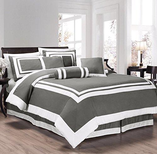 chezmoi Collection 7-teilig Caprice grau/weiß quadratisch Muster Hotel Bettwäsche Tröster Set (Full, grau/weiß)
