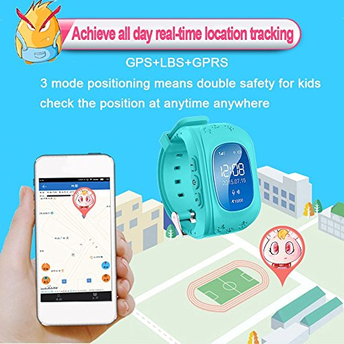 juneo TKSTAR Childrens Smartwatch GPS Rastreador NIÑOS reloj de pulsera teléfono SIM anti-lost SOS pulsera Parent control para iOS Android Smartphone
