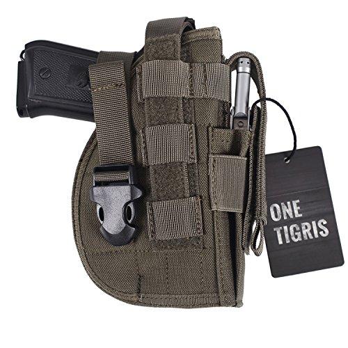 OneTigris Taktische Molle Modular Pistolenholster mit Magazintasche für Rechtsschützen 1911 45 92 96 Glock (Ranger Grün) -