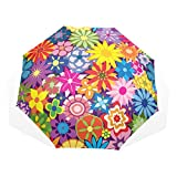 GUKENQ Regenschirm, Bunte Blumen, Blumenmuster, leicht, Anti-UV-Schutz, Sonnenschirm für Herren, Frauen und Kinder, Winddicht, faltbar, kompakt
