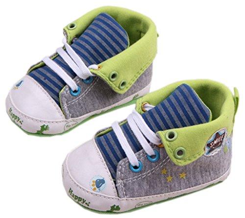 Bigood Chaussures Premier Pas Bébé Unisexe Toile Sport Rayure Etoile Gris