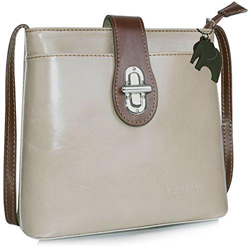 Borsetta piccola a tracolla in vera pelle italiana di Big Handbag Shop Taupe - Brown Traim (BH586)