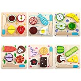 Zantec Holz Schneiden Obst Gemüse Desserts Bunte Play Food Set für Pretend Play für Kinder