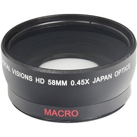58MM (58 mm) Weitwinkel Objektiv 0.45x + Makro Vorsatzlinse für Canon EOS 1D, 5D, 5DS, 5DS R, 6D, 7D, 10D, 20D, 30D, 40D, 50D, 60D, 70D, 100D, 300D, 350D, 400D, 450D, 500D, 550D, 600D, 650D, 700D, 750D, 760D, 1000D, 1100D, 1200D SLR-Digitalkamera