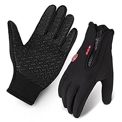 Cycling Gloves, Waterproof Touchscreen in Winter Outdoor Bike Gloves Adjustable Size- Black by SLB