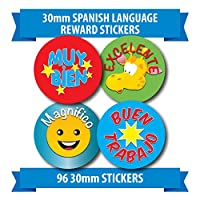 "96 30mm ""SPANISH LANGAUGE"" children reward stickers giraffe"