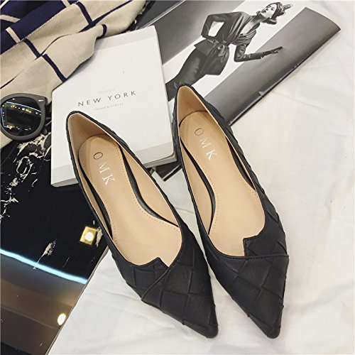 WYMBS Le cadeau le plus intime Nouveau printemps femmes de confort fait chaussure basse grande lumière avec avec chaussures femmes Black