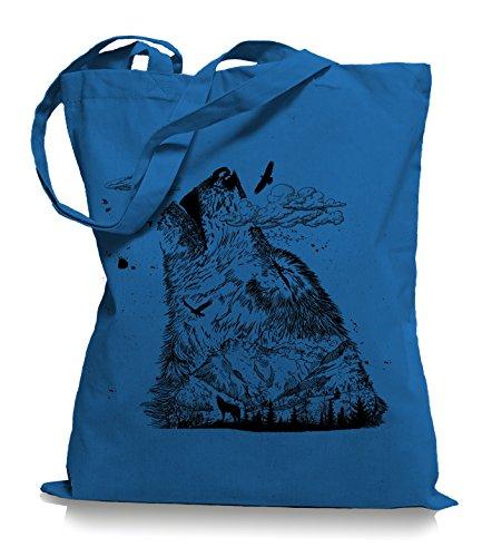 Wolf Mountain Stoffbeutel |Rettet die Wölfe Tragetasche Cornflower Blue