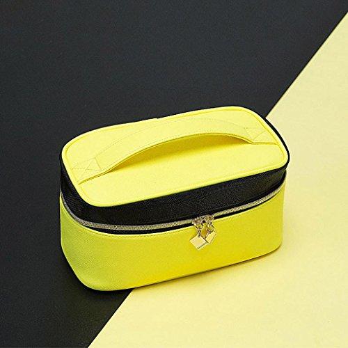 Noir et jaune hit couleur sac cosmétique mode créative Corée portable petit sac carré haute capacité portable cas cosmétique simple