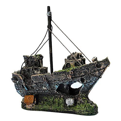 GZQ Aquarium-Dekoration Fischboot, Piratenschiff, Kunstharz, Dekoration für Aquarium
