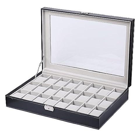 Coffret de montre boîte présentoir de rangement classique modern et noble en panneaux de fibres avec vitre au-dessus en verre simili cuir à l'extérieur velours à l'intérieur pour ranger collectionner montres bijoux et bien d'autres 24 emplacements avec serrure clé et
