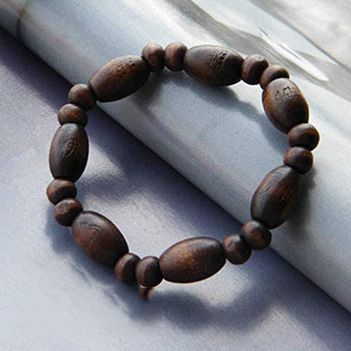 TWCAM Lederarmband männer Edelstahl Armband- Armbandschmuck-Paararmband Der Hölzernen Armbandperlenmänner, Buddha-Wort (Hölzerne Männer Armbänder)