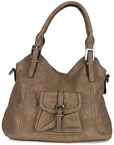 Xuna Damen Schultertasche - Handtasche aus weichem Kunstleder (44 x