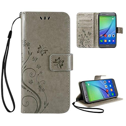 Leathlux Schutzhülle Huawei P10 Lite Hülle Grau Vintage Blume Muster Premium PU Leder Schutzhülle Bookstyle Tasche Schale TPU Case mit Trageschlaufe Standfunktion für Huawei P10 Lite 5.2