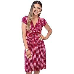 KRISP 6488-RED-14, Vestido Corto Fruncido Busto, Rojo (6488), 42