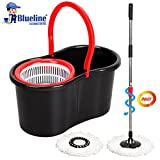 #9: Blueline Cleaning Experts Plastic Magic Spin Mop Set,4 Pieces, Black