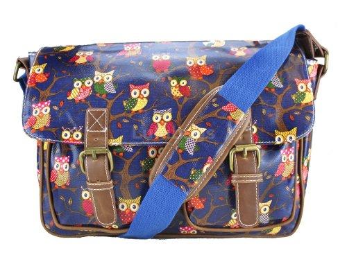Miss Lulu Wachstuch-Umhängetasche, Messenger-Bag, Handtasche, Schultertasche, Schultasche gepunktet, Back-to-School-/ College-Design Navy Owl
