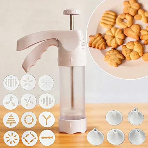 AsentechUK - 1 pistola de plástico duro con mango dispensador de galletas + 12 moldes para decoración de galletas + 6 moldes para galletas de pastelería