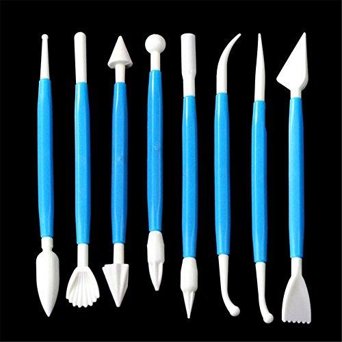 gotd 8PCS KIT Sugarcraft Fondant Kuchen dekorieren Modellierwerkzeuge Dekorationen (blau) Excelle Elite Mini