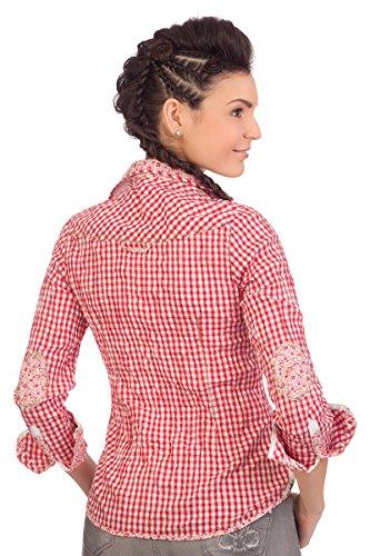 Trachten Bluse Crashoptik, langer Arm - BUCHAU - rot, grau Rot
