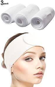 Queta Fascia per Capelli per Trucco, Fascia per Capelli Sintetica, Fascia per Capelli Regolabile con Velcro 3 pezzi (Bianco)