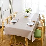 Duoguan rectangulaire Toile cirée PVC facile à nettoyer Uni couvertures de table étanche 137x 137cm (137,2x 137,2cm), beige, 137x137cm(54'x54')