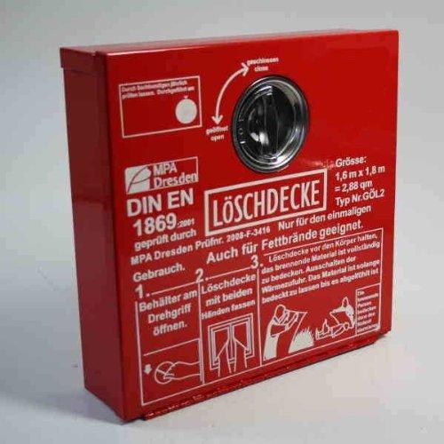 Löschdecken-Behälter Metall 300mmx300mmx80mm mit Löschdecke 1,6m x 1,8m
