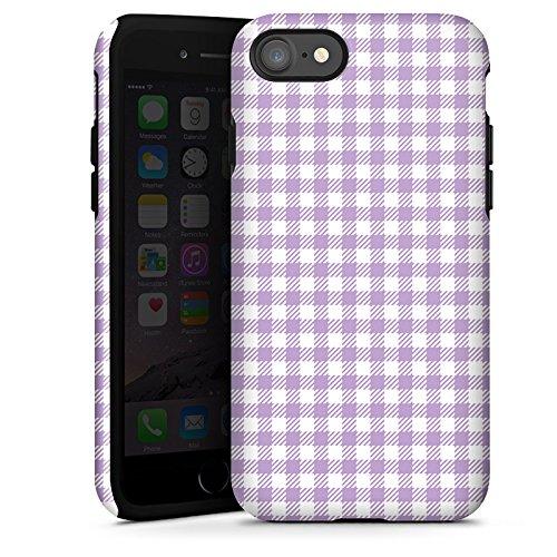 Apple iPhone X Silikon Hülle Case Schutzhülle Karomuster Flieder Lila Tough Case glänzend