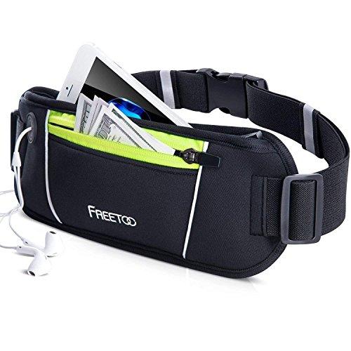 FREETOO Marsupio Running Cintura Corsa con 2 Tasche con Cerniera e Foro Contiene Tutte le Dimensioni dei Telefoni Cellulari Inferiori a 5,5 Pollici e Accessori per Viaggi Escursionistici 1 (M)